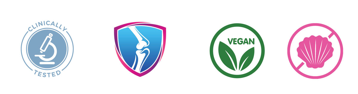 A group of 4 different icons - Vegan, clinically tested, joint support, eco friendly